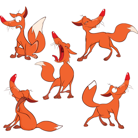 Illustration of a set of Funny Red Foxes. Cartoon Character