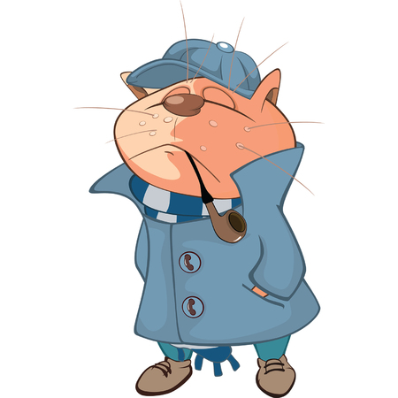 Illustration of a Cat Detective. Cartoon Character