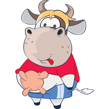 udders: Illustration of a Cute Cow. Cartoon Character Illustration