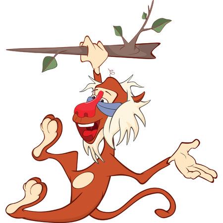 mandrill: Illustration of a Cute Monkey. Mandrill. Cartoon Character Illustration