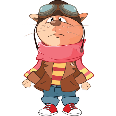 zapatos caricatura: Illustration of Cute Cat Aviator. Cartoon Character