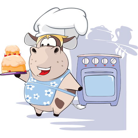 fruitcakes: Illustration of Gourmet Chef Cow Cartoon Character Illustration