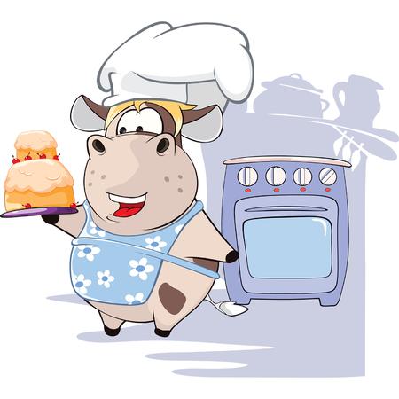 Illustration of Gourmet Chef Cow Cartoon Character Illustration
