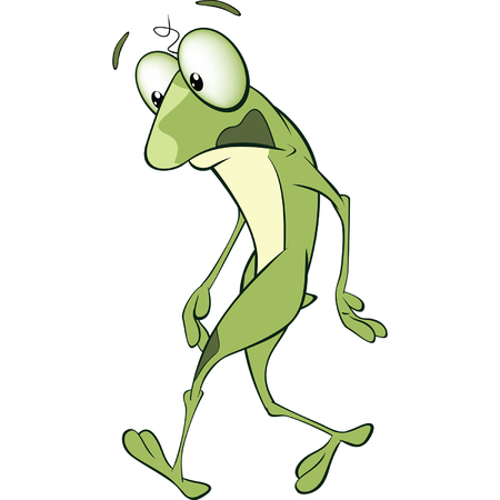 Illustration of Cute Green Frog Cartoon Character