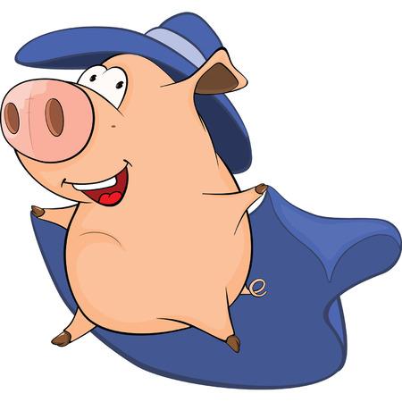 Illustration of Cute Pig in Superhero Costume Cartoon Character