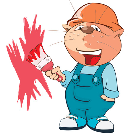 Illustration of a Cute Cat House Painter. Cartoon Character