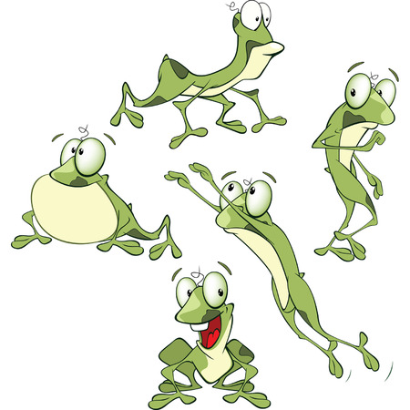 repulsive: Set Cartoon Illustration Cute Green Frogs for you Design
