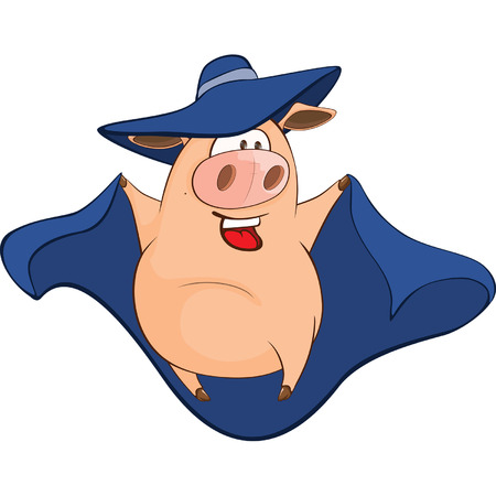 Illustration of Cute Pig in Superhero Cartoon Character Illustration