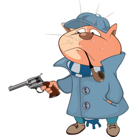 policia caricatura: Ilustración de un gato lindo. Personaje animado Vectores