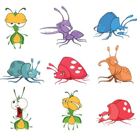 glowworm: Set Cartoon Illustration. A Funny Bugs for you Design