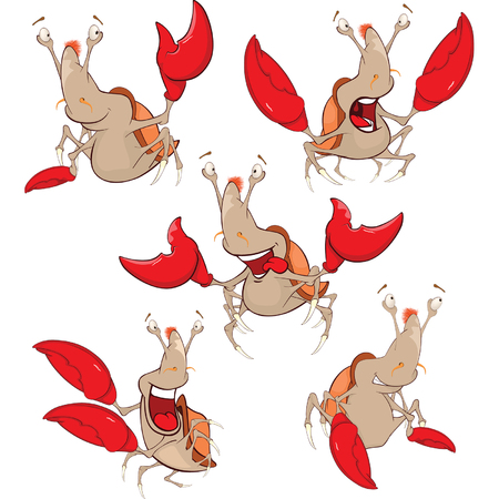 small group of objects: Set Cartoon Illustration. A Cute Crabs for you Design
