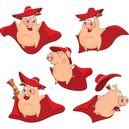 Set Cartoon Illustration. A Cute Pigs in a Superhero Costumes for you Design