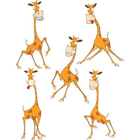 Conjunto de la ilustración de dibujos animados. Una jirafa divertida para que el diseño Foto de archivo - 66914685