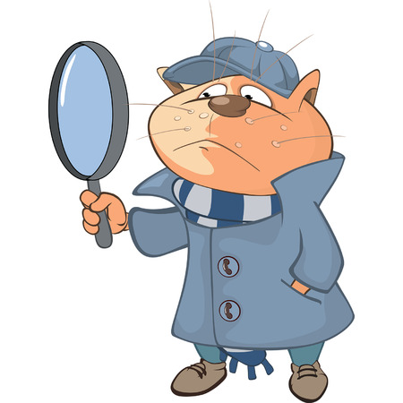 Illustration of a Cute Cat Detective. Cartoon Character