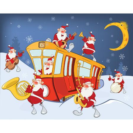 Illustration of a Christmas Santa Claus, Music Band