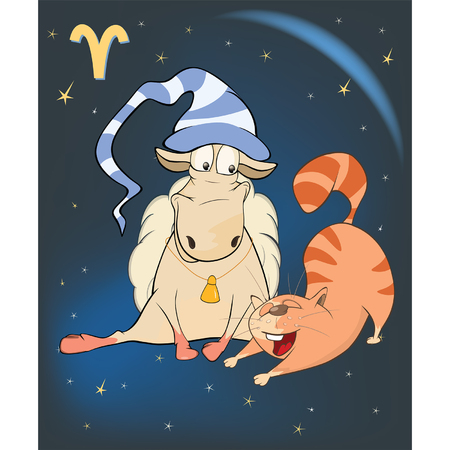 Illustration of a Zodiac Signs Aries. Cartoon Character