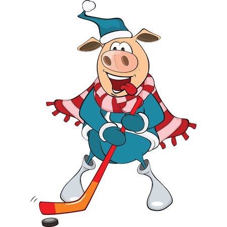 ice hockey player: Cute Pig Ice Hockey Player