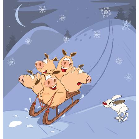 montañas caricatura: Los lechones divertidos de conducción En Sledg