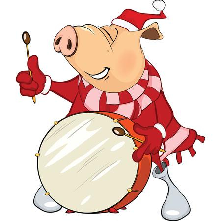 Cute Pig Musician Cartoon Illustration