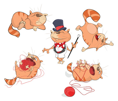 Set of Cartoon Illustration. A Cute Cats for you Design Illustration