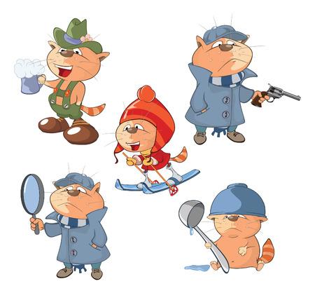 Conjunto de dibujos animados de ilustración. A los gatos lindos para que el diseño