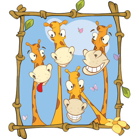 bamboo frame: Illustration of a Happy Giraffe Family Portrait in a Bamboo Frame