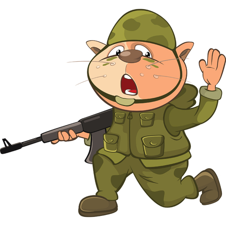 battlefield: Illustration of a Cute Cat Special Forces Cartoon Character