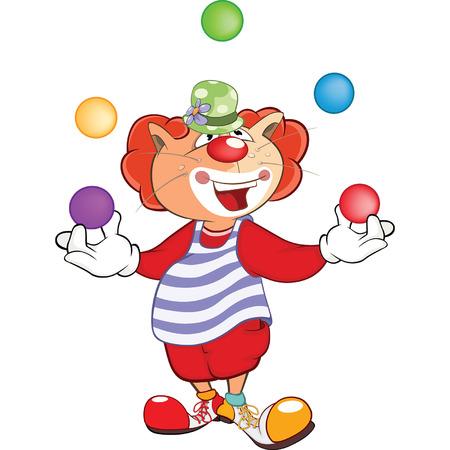 zapatos caricatura: Cute Cat Clown Juggler Cartoon