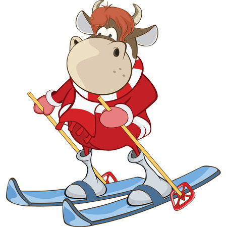 Cute Cow Cartoon Character Ilustração