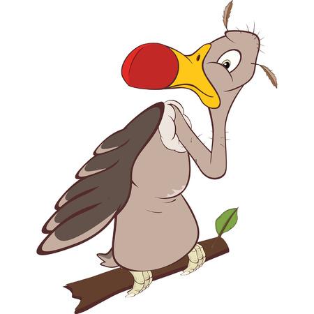 Cute American Condor Cartoon Illustration