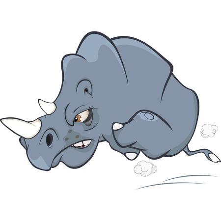 Illustration of a Cute Black Rhinoceros. Cartoon Illustration