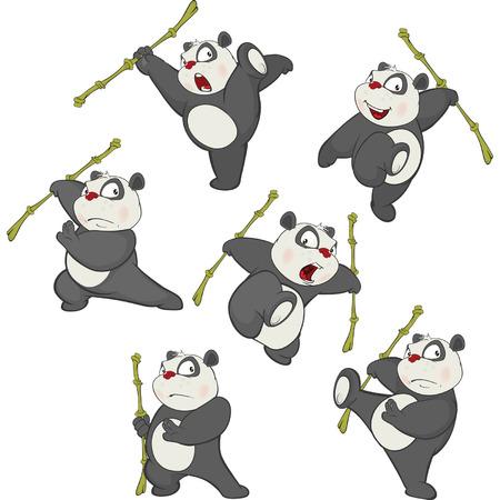 Illustration of funny Panda bear set.