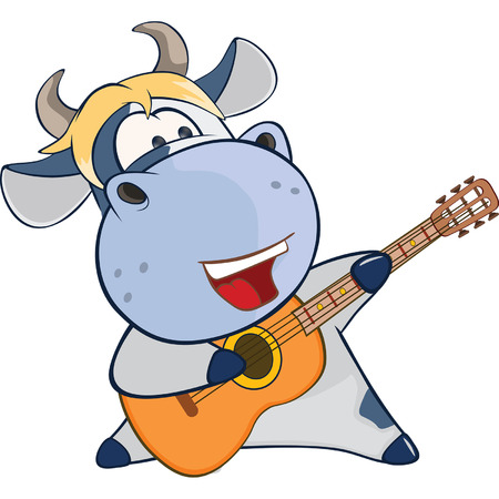 humor: Illustration of a Cute Cow Guitarist. Cartoon Character Illustration