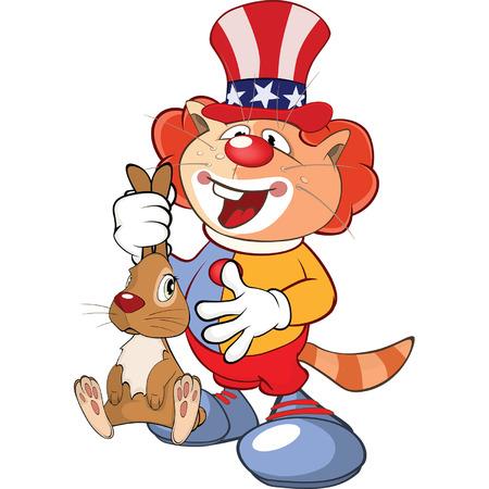 Illustration of a Cute Cat Clown. Cartoon Character