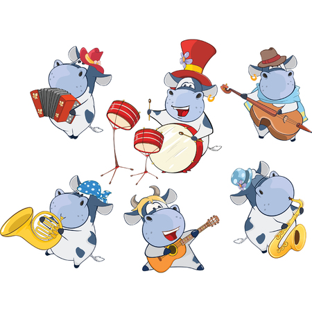 illustration of a Set of a Cute Cartoon Cows Musicians for you Design Illustration