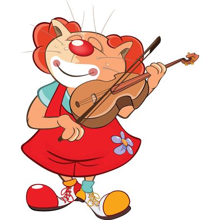 payasos caricatura: Ilustración de un lindo payaso de gato violinista. Personaje animado