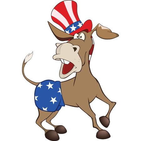 Illustration of a Cute American donkey. Illustration