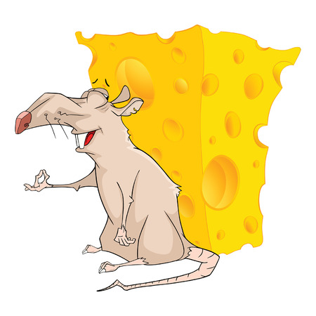 cheddar: Illustration of a Cute Rat and Cheese. Cartoon Character