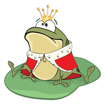 Illustration of a Cute Green Frog a King. Cartoon Character
