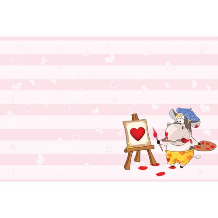 Tarjeta de San Valentín con Cute Cow Painter Illustration