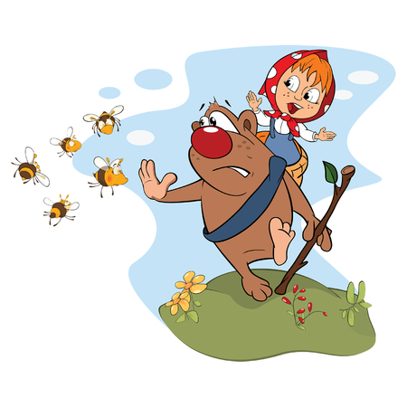 Illustration of a Bear Carrying a Girl. Cartoon