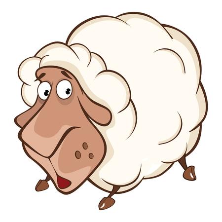 Illustration of a Cute Sheep. Cartoon Character.