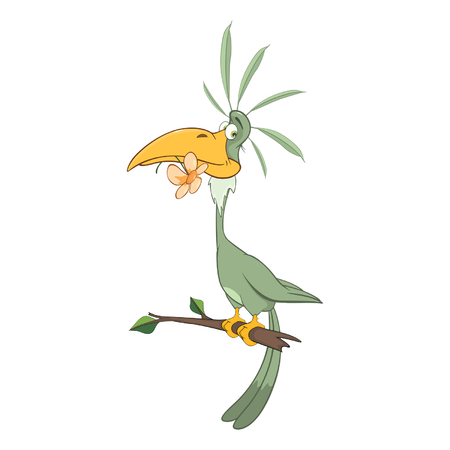 macaw: Illustration of a Green Parrot. Cartoon Character