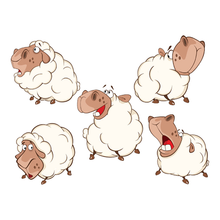 Set of Cartoon Illustration.A Different Sheep for you Design. Cartoon Character Ilustração