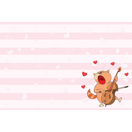 Valentines card with a Cute Tabby Cat illustration Illustration
