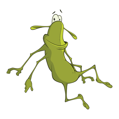 Illustration of a Green Cockroach. Cartoon Character Illustration