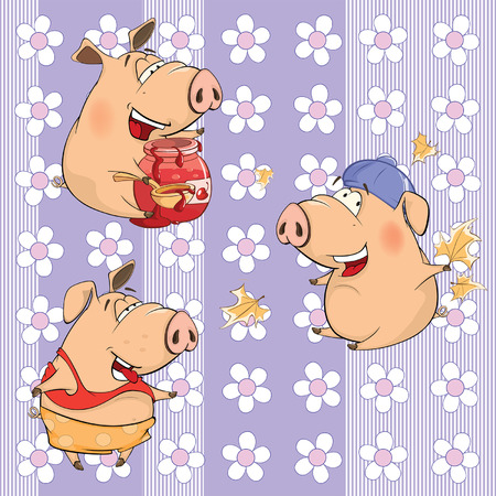 A background with pigs seamless pattern Illustration
