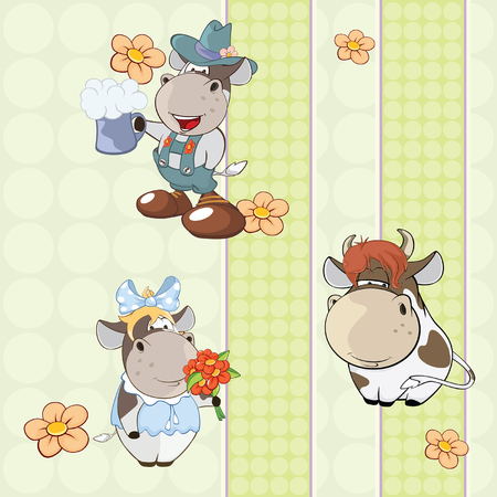 A background with cows Vector Illustration