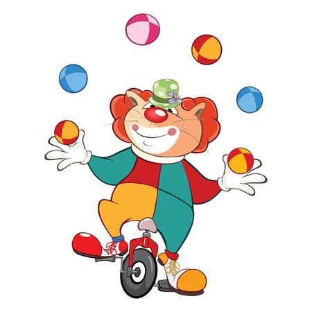 payasos caricatura: Ilustración de un Juggler lindo del payaso del gato. Personaje animado.