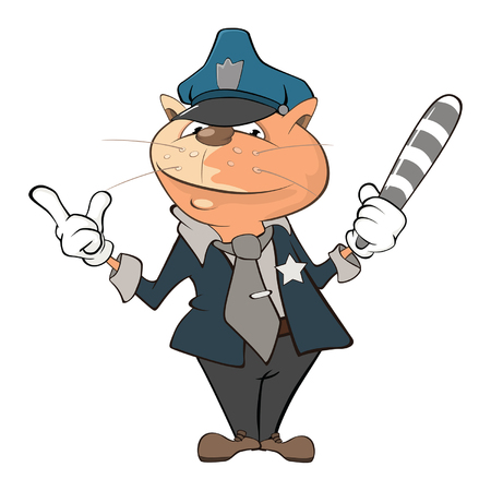 Ilustración de un personaje de dibujos animados lindo oficial de policía de gato